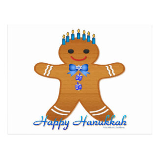 Judaica Hanukkah Gingerbread Man Menorah Postcard