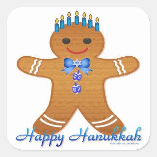 Judaica Hanukkah Gingerbread Man Menorah Square Sticker