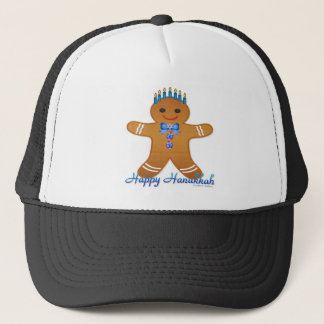 Judaica Hanukkah Gingerbread Man Menorah Trucker Hat