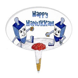 Judaica Happy Hanukkah Dancing Dreidels Doughnut Cake Toppers