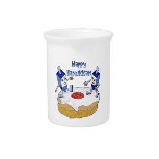 Judaica Happy Hanukkah Dancing Dreidels Doughnut Drink Pitcher