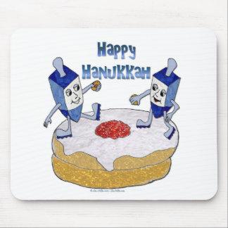 Judaica Happy Hanukkah Dancing Dreidels Doughnut Mouse Pad