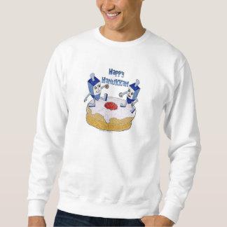 Judaica Happy Hanukkah Dancing Dreidels Doughnut Sweatshirt