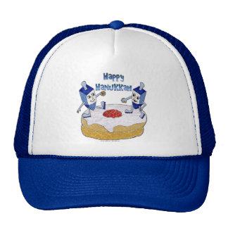 Judaica Happy Hanukkah Dancing Dreidels Doughnut Trucker Hat