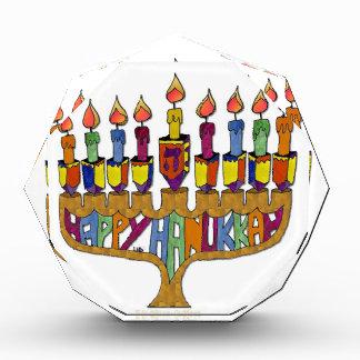 Judaica Happy Hanukkah Dreidel Menorah Acrylic Award