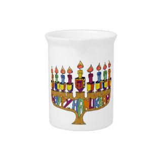 Judaica Happy Hanukkah Dreidel Menorah Beverage Pitcher
