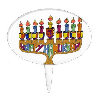 Judaica Happy Hanukkah Dreidel Menorah Cake Topper