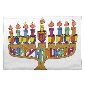 Judaica Happy Hanukkah Dreidel Menorah Place Mats