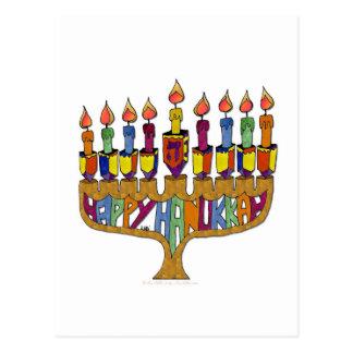 Judaica Happy Hanukkah Dreidel Menorah Postcard