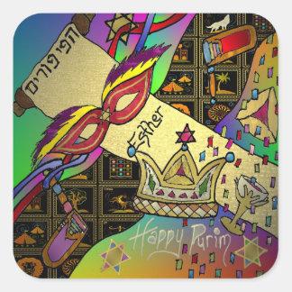 Judaica Happy Purim Jewish Holiday Gifts Apparel Square Sticker