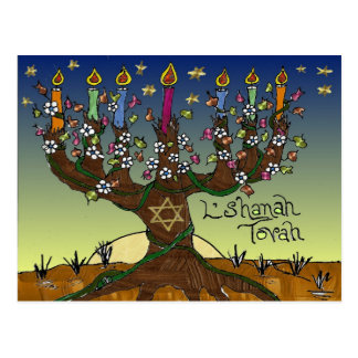 Judaica L'shanah Tovah Tree Of Life Gifts Apparel Postcard