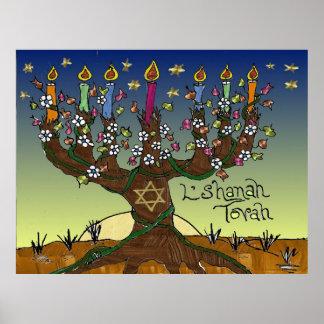 Judaica L'shanah Tovah Tree Of Life Print Poster
