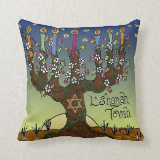 Judaica L'shanah Tovah Tree Of Life Throw Pillow