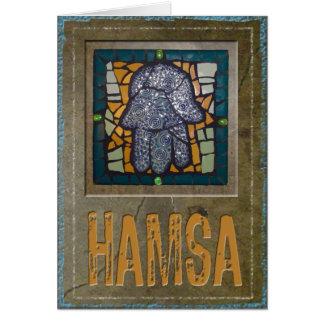 Judaica: Mosaic Hamsa w/ Cement Background Greeting Card