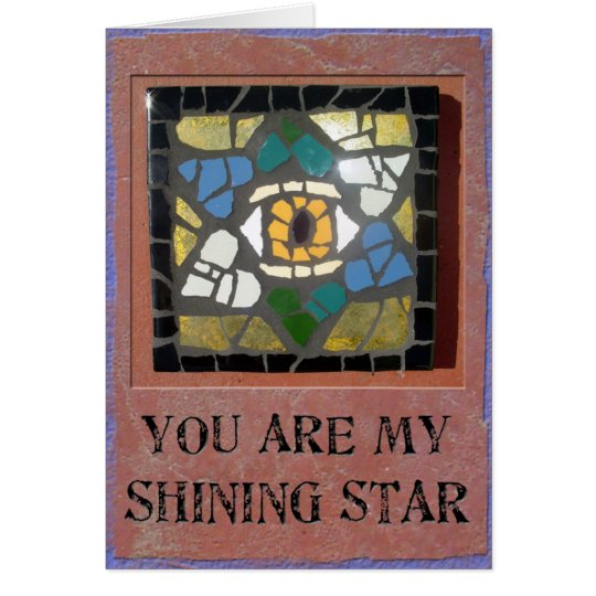 Judaica: Mosaic Hearts Star of David with Evil Eye Card