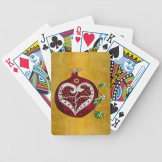 Judaica Pomegranate Heart Hanukkah Rosh Hashanah Bicycle Playing Cards
