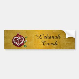 Judaica Pomegranate Heart Hanukkah Rosh Hashanah Bumper Sticker