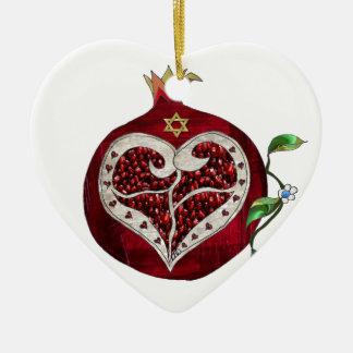 Judaica Pomegranate Heart Hanukkah Rosh Hashanah Ceramic Ornament