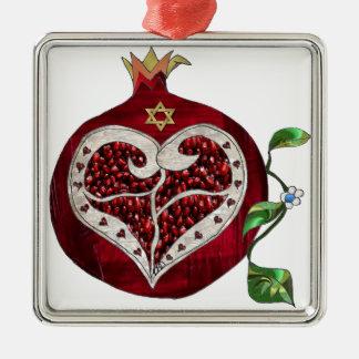 Judaica Pomegranate Heart Hanukkah Rosh Hashanah Metal Ornament