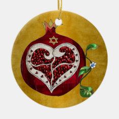 Judaica,pomegranate,pomegranate+heart,hanukkah,lee Ceramic Ornament at Zazzle