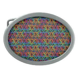 Judaica Rainbow Stars of David Belt Buckle