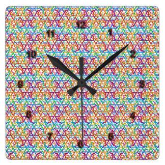 Judaica Rainbow Stars of David Pattern Clock