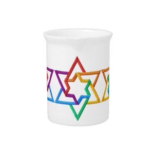 Judaica Rainbow Stars of David Pitcher