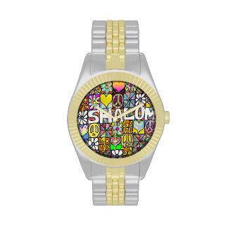 Judaica Retro 60s Psychedelic Shalom LOVE Wristwatch