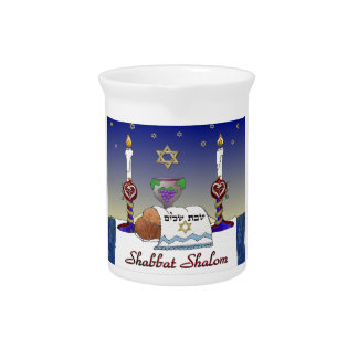 Judaica Shabbat Shalom Art Print Beverage Pitcher