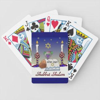 Judaica Shabbat Shalom Art Print Bicycle Playing Cards