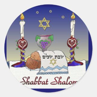 Judaica Shabbat Shalom Art Print Classic Round Sticker