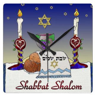 Judaica Shabbat Shalom Art Print Square Wall Clock