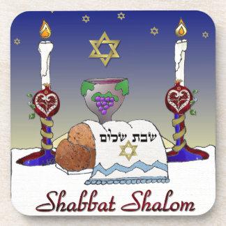 Judaica Shabbat Shalom Art Print Coaster