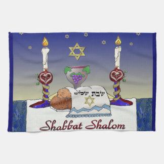 Judaica Shabbat Shalom Art Print Hand Towel