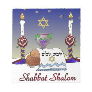 Judaica Shabbat Shalom Art Print Notepad