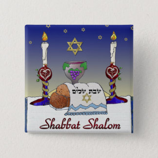 Judaica Shabbat Shalom Art Print Pinback Button