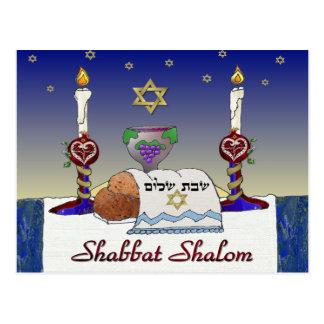 Judaica Shabbat Shalom Art Print Postcard