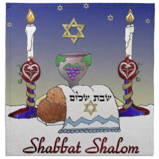 Judaica Shabbat Shalom Art Print Printed Napkin
