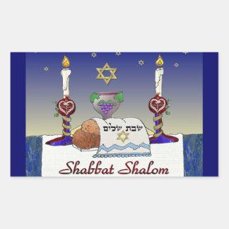 Judaica Shabbat Shalom Art Print Rectangular Sticker