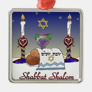 Judaica Shabbat Shalom Art Print Square Metal Christmas Ornament
