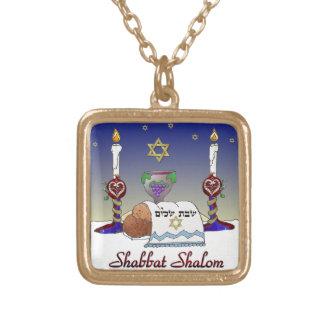 Judaica Shabbat Shalom Art Print Square Pendant Necklace