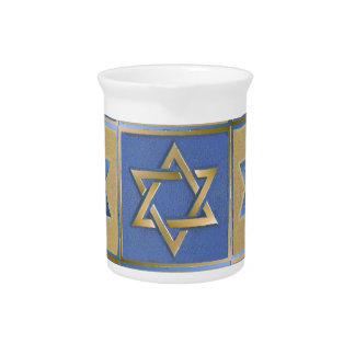 Judaica Star Of David Metal Gold Blue Beverage Pitcher