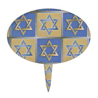Judaica Star Of David Metal Gold Blue Cake Pick