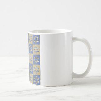 Judaica Star Of David Metal Gold Blue Coffee Mug