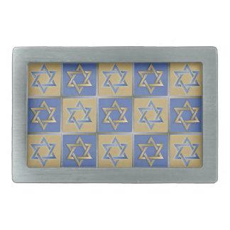 Judaica Star Of David Metal Gold Blue Rectangular Belt Buckle
