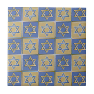 Judaica Star Of David Metal Gold Blue Small Square Tile