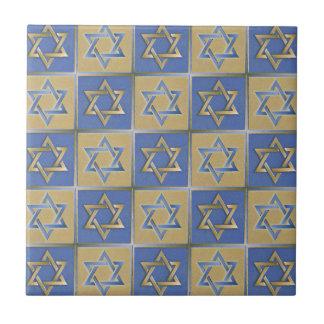 Judaica Star Of David Metal Gold Blue Tile
