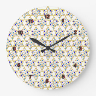 Judaica Stars of David Pattern Clock