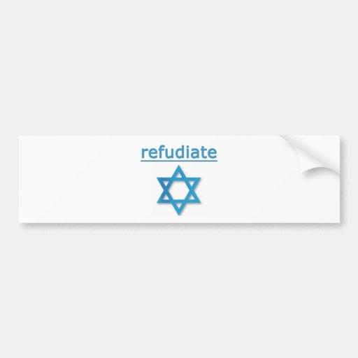Judaísmo de Refudiate Pegatina Para Auto