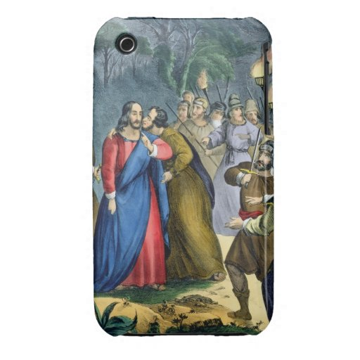 Judas Betrays his Master, from a bible printed by iPhone 3 Case
